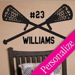 Lacrosse Vinyl Wall Art, Custom Sports Wall Decal