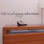 Life Is A Happy Adventure Wall Quote, Family Vinyl Wall Art Decal