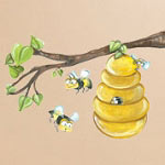 Lisa Bee Hive Branch Print Mural Vinyl Wall Decal