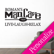 Man Cave Sign Wall Decal, Manly Custom Vinyl Wall Art