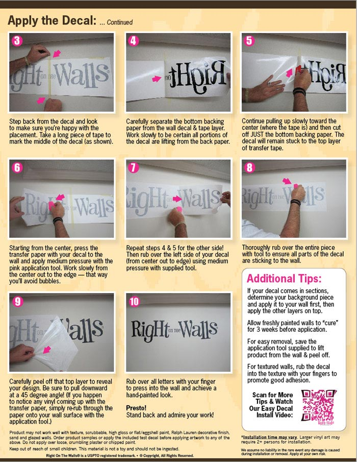 how to apply vinyl wall decals quick & easy