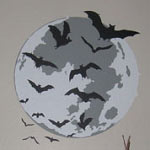 Moon With Bats Wall Decal, Holiday Halloween Vinyl Wall Art