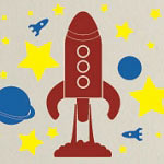 Rocket Ship Wall Decal, Kids Vinyl Wall Art
