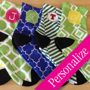 Pattern Monogrammed Socks, Custom and Unique Gift Socks, Personalized Socks