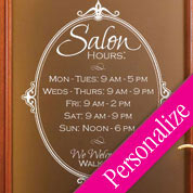 Salon Oval Hours Window Decal, Custom Hours of Operation Glass Decal