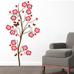 Skinny Tree Flowers Tree Vinyl Wall Art Decal
