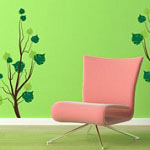 Twin Bushes Tree Vinyl Wall Decal