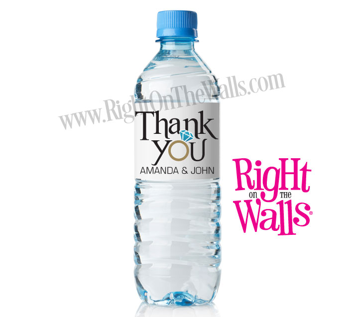 Thank You Custom Wedding Water Bottle Labels with Ring