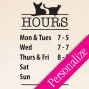 Veterinarian Door Hours Decal, Custom Window Hours Vinyl Glass Decal