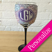 Designer Wine Glass Cooler, Monogrammed Wine Glass Sleeve Cozy