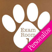 Exam Room Veterinary Wall Decal, Personalized Exam Room Sign, Paw Print Door Sticker