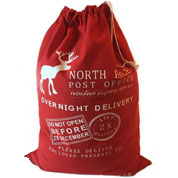 Santa Sack - Reindeer North Pole Red