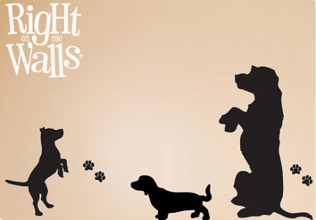 begging dog silhouettes animal wall decals, vinyl art stickers