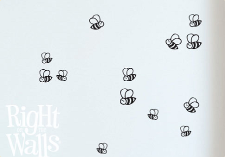 Bumble Bees Animal Wall Decals, Vinyl Art Stickers
