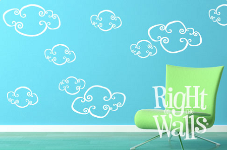 whimsical clouds kids wall decals, vinyl art stickers