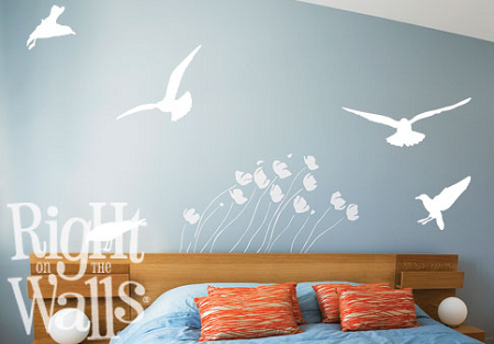 seagull birds beach wall decals, vinyl art stickers
