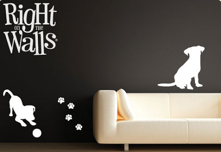 dog silhouettes puppy wall decals, vinyl art stickers