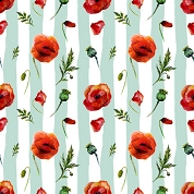 Mint Stripes Poppy, Craft Vinyl 12