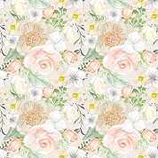 Peach Mixed Flowers Patterned Craft Vinyl 12