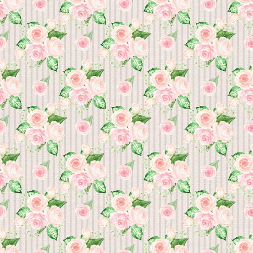 "Small Pink Roses Patterned Craft Vinyl 12"" x 12"" Sheet"