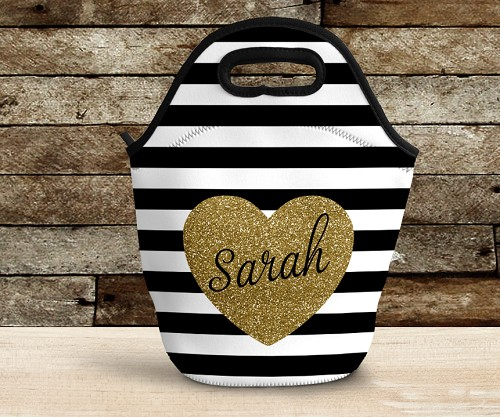 Trendy Custom Lunch Bag with Glitter Heart