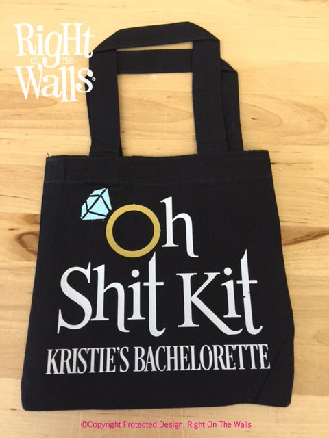 Black Oh Shit Kit Mini Tote Bag with Glitter Ring