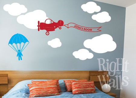 Personalized Airplane Banner Kids Vinyl Wall Decal