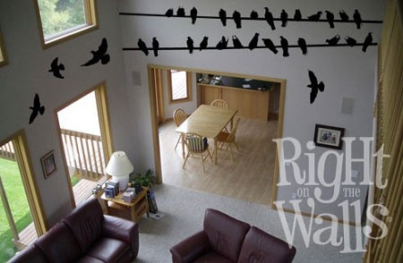 Bird On Wire Wall Decal, Animal Vinyl Wall Art