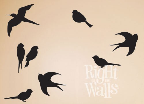 Bird Silhouette Vinyl Wall Decal, Animal Vinyl Wall Art