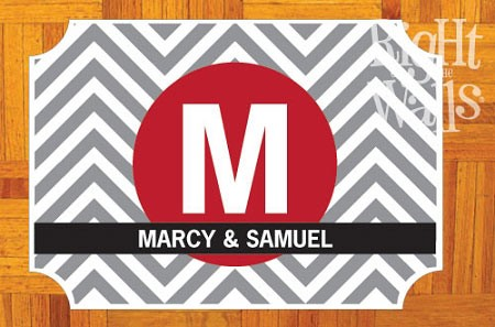 Chevron Monogram Personalized Dance Floor Decal, Wedding Dance Floor Sticker