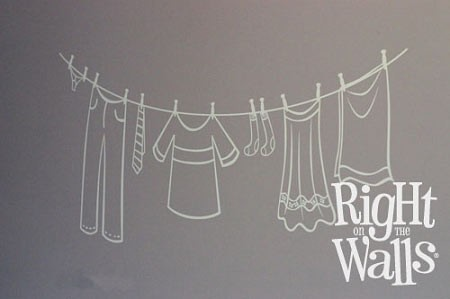 Clothesline Laundry Wall Decal