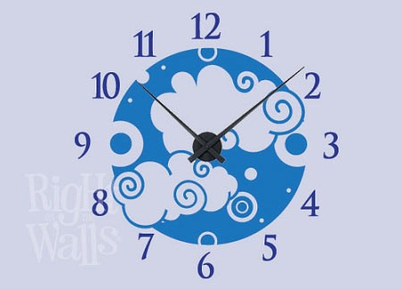 Clouds Vinyl Wall Decal Clock