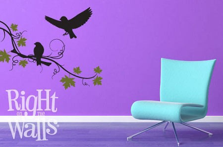Curly Tree Branch Bird Tree Wall Decal