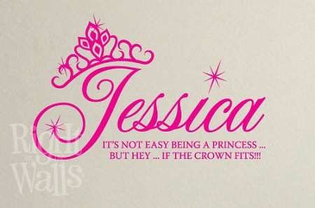 Princess Crown Vinyl Wall Art, Custom Kids Wall Decal