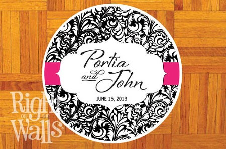 Damask Round Personalized Dance Floor Decal, Wedding Dance Floor Sticker