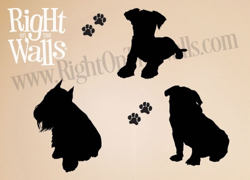 Sitting Small Dog Wall Decals, Dog Silhouettes, Animal Vinyl Wall Art