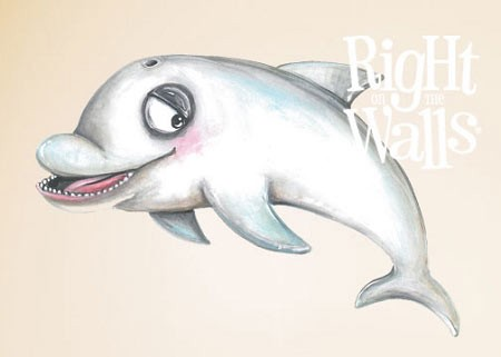 Dolphin Printed Wall Decal Vinyl Wall Art Mural
