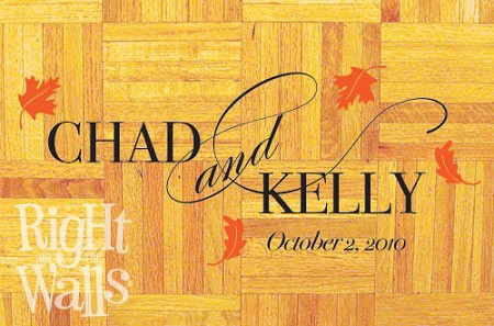 Fall Leaves Personalized Dance Floor Decal, Wedding Dance Floor Sticker