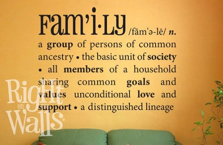 Family Definition Wall Decal, Family Vinyl Wall Art