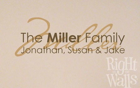 Family Overlay Names Vinyl Wall Decal, Family Vinyl Wall Art
