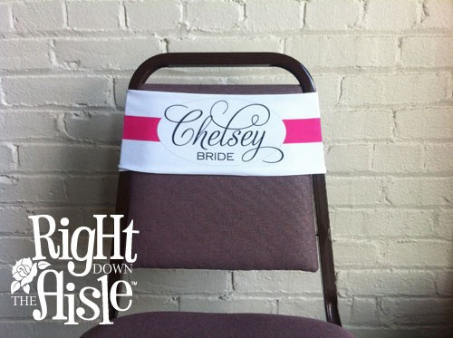 Fancy Script Chair Band, Personalized Wedding Chair Sash