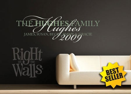 Fancy Family Names Personalized Wall Decal, Family Wall Decor