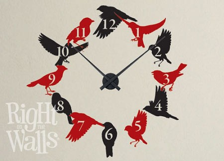 Bird Flock Vinyl Wall Decal Clock