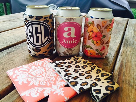 Designer 12oz Can Cooler Monogrammed Cozy