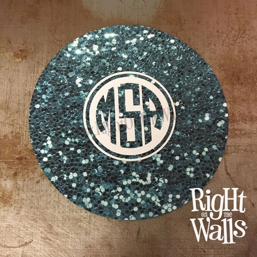 Glitter Sequin Monogram Round Mouse Pad