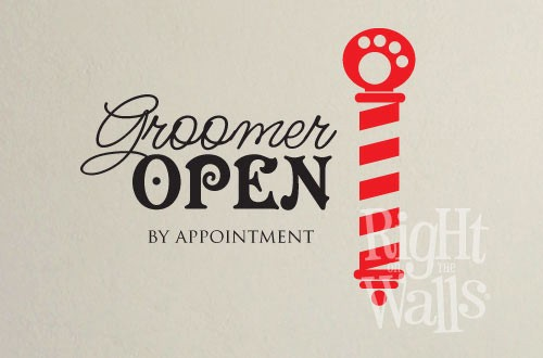 Dog Groomer Open Wall Decal, Vinyl Wall Art, Wall Decor