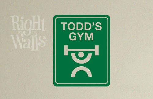Gym Street Sign, Fitness Wall Decal