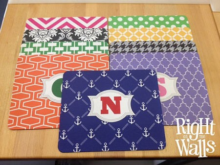 Monogram Mouse Pad, Personalized Mousepad, Square Mouse Pad