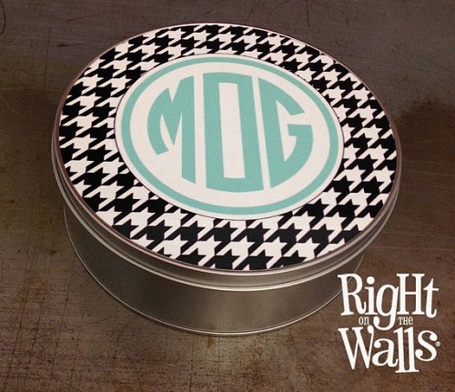 Pattern Monogram Cookie or Jewelry Tin