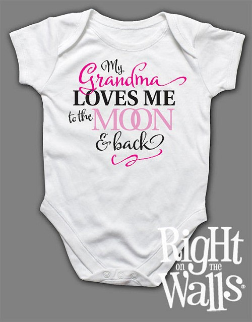 GRANDMA Loves Me to the Moon Baby Onesie or T-shirt